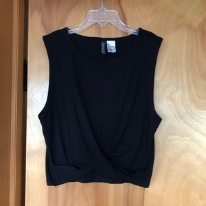H&M DIVIDED Knot Detail Black Cropped Tank Top
